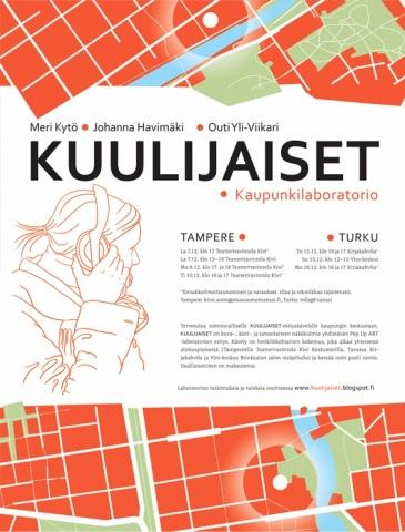 Kuulijaiset. A multisensory urban walk. Together with Outi Yli-Viikari and Johanna Havimäki. Central Finland Regional Dance Center. Autumn–Winter 2013.