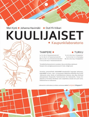 Kuulijaiset. A multisensory urban walk. Together with Outi Yli-Viikari and Johanna Havimäki. Central Finland Regional Dance Center. Autumn–Winter 2013.